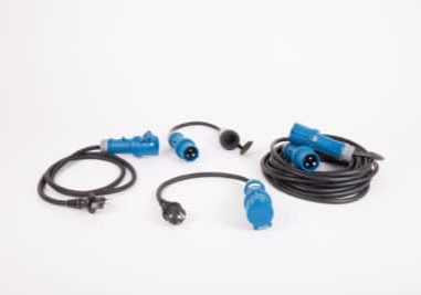 CEE plug and adapter for caravan and motorhome. electric cable energy for camping